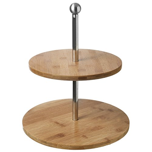 Cupcake Server - 2-Tier Bamboo & Stainless Steel Cupcake Stand, Dessert & Appetizer Tower Trays