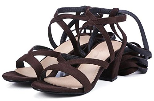 Easemax Womens Fashion Mid Chunky Heels Faux Suede Self Tie Gladiator Sandals Brown FUUPVGhS