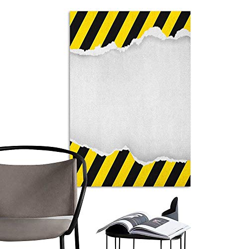 Self Adhesive Wallpaper for Home Bedroom Decor Construction Ripped Paper with Construction Sign Safety Warning Alert Framework Yellow Black White Room Bedside W20 x H28 (League Of Legends Wallpaper Black And White)