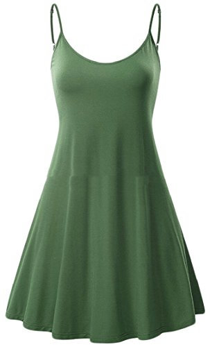 Mini Dress Line Sleeveless Pleat Strappy Skater Jaycargogo A Women's Summer Green wqU07aaT