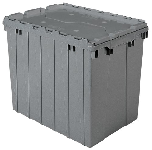 Akro-Mils 39170 Plastic Storage and Distribution Container Tote with Hinged Lid, 21.5-Inch L by 15-Inch W by 17-Inch H, Grey, Pack of 3