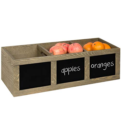 (MyGift Vintage Brown Wood 3-Compartment Fruit/Produce Storage Bin with Chalkboard)