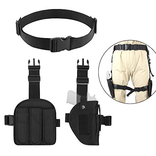Gun Leg Holster With Belt (AIRSSON 3-in-1 Airsoft Leg Holster Combination,One Adjustable Tactical Waist Belt,One Left Magazine Pouches which Put Three Bullets and One Right Leg Thigh Holster for Most of)