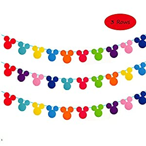 3 Rows Colorful Mickey Mouse Garland Disney Theme Garland Banner for Birthday Party Decoration, Room Decor, Baby Shower, Classroom Decoration