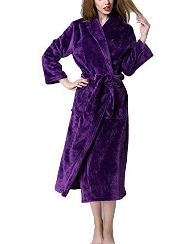 Mujeres Terciopelo Y Sche Pijamas Bolsa Coral Purple Con Clásico Hombres Camisón Largo Cálido Noche Casual De Albornoz Engrosamiento Invierno XdqwCd