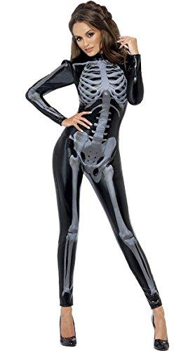 Smiffys Women's Fever Miss Whiplash Skeleton Costume, Printed Catsuit, Halloween, Fever, Size 6-8, 43838 ()