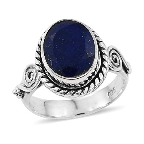 (925 Sterling Silver Oval Lapis Lazuli Oxidized Statement Ring for Women Handmade Jewelry Gift Size 6 Cttw)