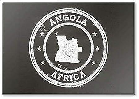 Mapa de la República Popular de Angola Imán para nevera con sello ...