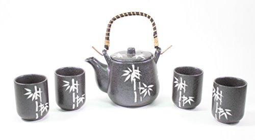 "6"" Black Bamboo Japanese Ceramic Tetsubin Teapot & Teacups Infuser with Rattan Handle Tea Set"