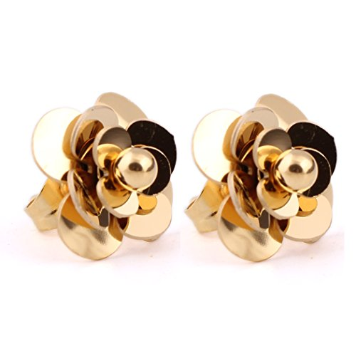 Women Wedding Earrings 316L Stainless Steel 18K Gold-plated Flower Stud Earrings (G) (Stainless Flower Steel Earrings)