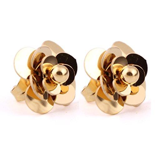 Women Wedding Earrings 316L Stainless Steel 18K Gold-plated Flower Stud Earrings (G) (Stainless Earrings Flower Steel)