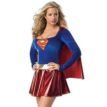 QWEASZER Vestido Supergirl para mujer, Disfraz de Adulto ...