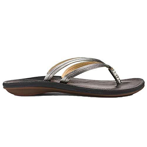 OLUKAI Women's U'I Sandal, Pewter/Black, 7 M ()