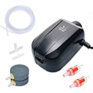 Uniclife Aquarium Air Pump 4 Watt 4-LPM 2 Outlets with Accessories, Adjustable Oxygen Pump for 20-100 Gallon Fish Tank