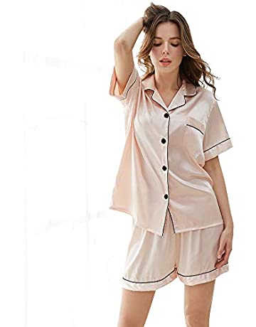 b1c7487f5d KIMILILY Women's Satin Pj Short Long Set Pajamas Sets Silk Sleepwear Two  Piece Nightwear