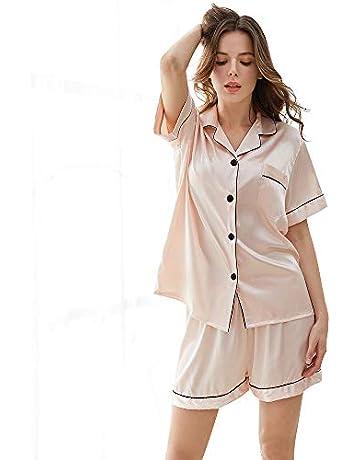 8523aa3a53 KIMILILY Women's Satin Pj Short Long Set Pajamas Sets Silk Sleepwear Two  Piece Nightwear