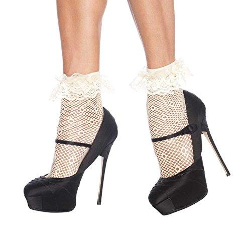 Leg Avenue Women's Daisy Dot Anklet Socks, Ivory, One (Mini Daisy Dot)