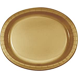 Creative Converting 8 Count Oval Paper Platters, Glittering Gold