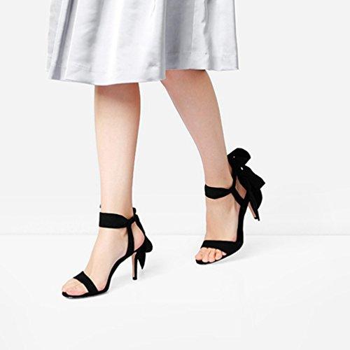 Hauts Sandales Open de cm 5 Noir Toe Talons Femmes Strappy Mariage Robe Lace Mariée Up 8 Chaussures Stiletto 6q0ApnXwd