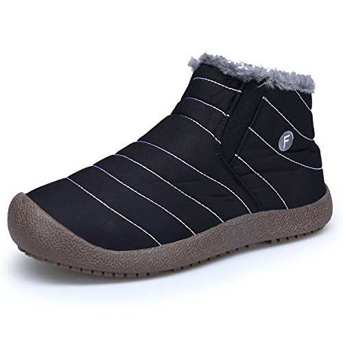 Nero Stivali Impermeabile Neve Stivali Boots Stivaletti da Scarp Piatto Inverno Donna Pelliccia colloalto DENGBOSN qBngw7txSg