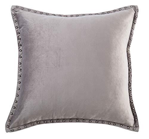 (Gray Throw Pillow Cover Modern Metallic Rivet Velvet Texture Cushion Cover Square 20x20 Throw Pillow Case)