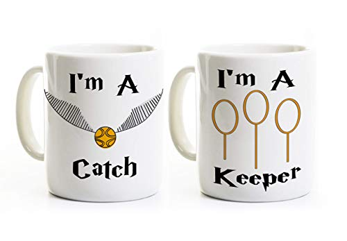 I'm a Catch - I'm a Keeper Mugs - His and Her Wedding Engagement Anniversary Gift