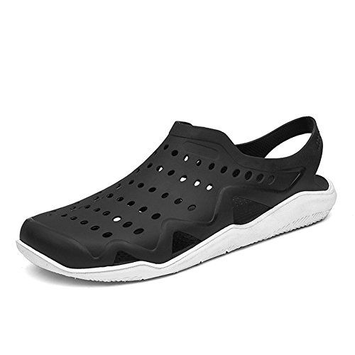 Ceyue Men's Clogs Swiftwater Shoes Casual Garden Clogs Breathable Walking Shoes Beach Outdoor Walking Office Indoor Black White 43