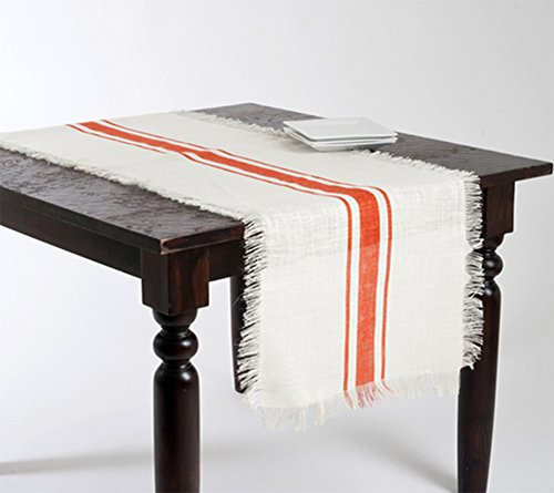 Striped and Fringed Design Provençal Jute Table Runner (20