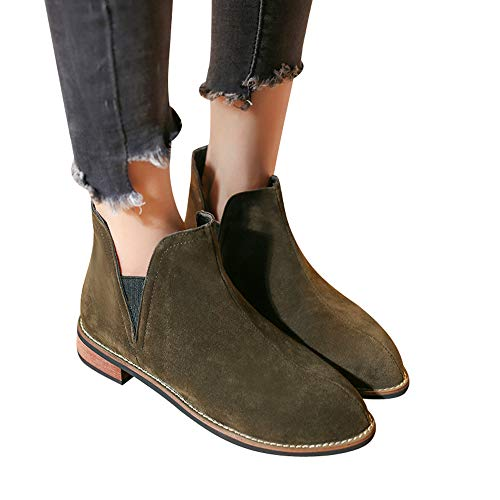 Toimothcn Women Round Toe Flat Booties Leather Square