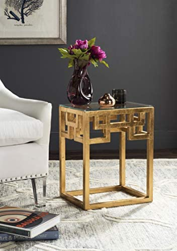 Safavieh Home Collection Byram Greek Key Gold Glass Top End Table
