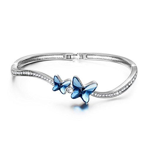 Crystal Butterfly Bracelet (Brilla Mother's Day Gift Bangle Bracelet Swarovski Elenments Crystal Blue Women Fashion Jewelry