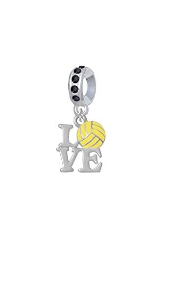 Silvertone Love with Water Polo Ball - Black Crystal Charm Bead