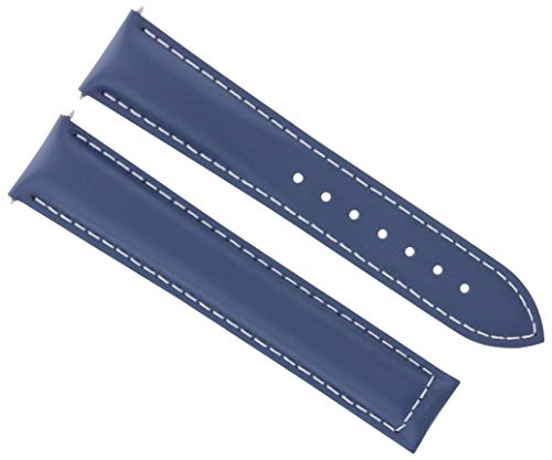 18MM Leather Strap Band for Omega SEAMASTER Planet SPEEDMASTER Moon Blue WS #19