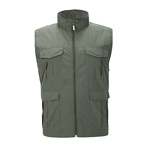 LANBAOSI Men's Multi Pockets Mesh Lining Vest Comfortable Hiking Fishing - Mesh Windproof Vest
