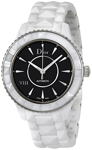 Dior VIII Automatic Black Dial White Ceramic Ladies Watch CD1245E3C004 by Dior