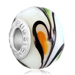 Pugster blanco con flecos Craig cuentas de cristal Murano venta compatible con Pandora Pulsera