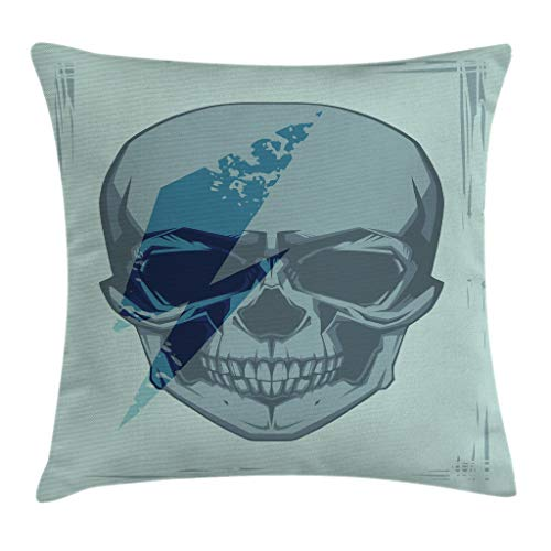 "Ambesonne Skull Throw Pillow Cushion Cover, Dead Bones Skeleton with Grunge Bowie Music Spooky Graphic Art, Decorative Square Accent Pillow Case, 20"" X 20"", Turquoise Blue"