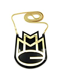 """Solid MMG Mayback Music Pendant w/ 3mm 30"""" Box Chain Necklace in Gold-Tone"""