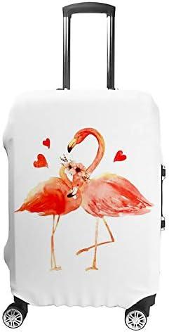 スーツケースカバー トラベルケース 荷物カバー 弾性素材 傷を防ぐ ほこりや汚れを防ぐ 個性 出張 男性と女性愛のフラミンゴ