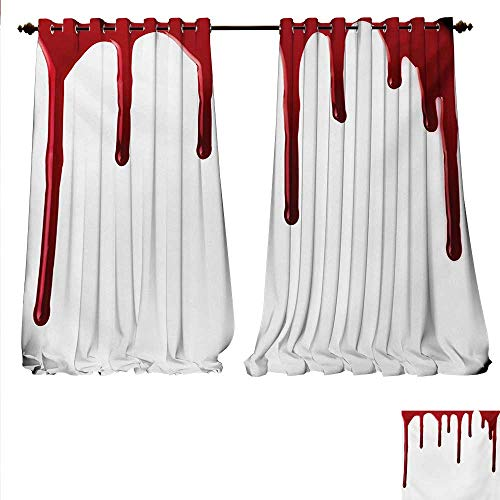 familytaste Patterned Drape for Glass Door Flowing Blood Horror Spooky Halloween Zombie Crime Scary Help me Themed Illustration Window Curtain Fabric W96 x L108 Red White.jpg]()