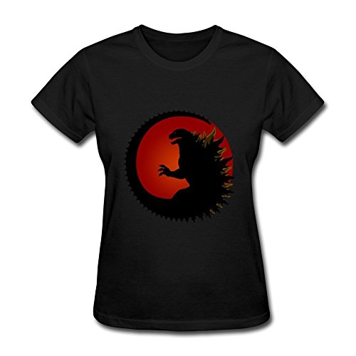 DONVAN Women's Fun Godzilla T-shirt S Black