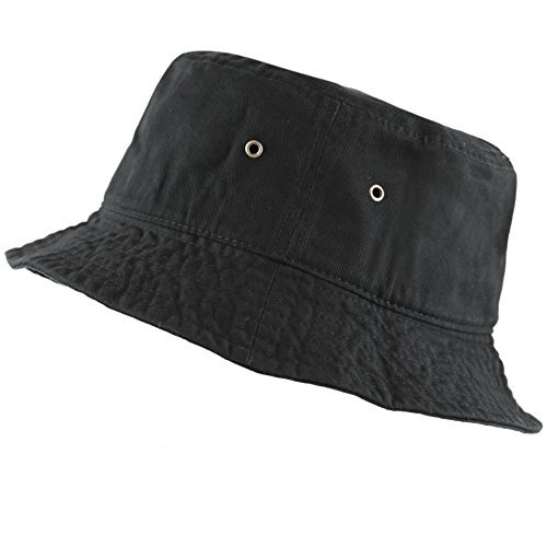 The Hat Depot 300N Unisex 100% Cotton Packable Summer Travel Bucket Hat (S/M, Black) -