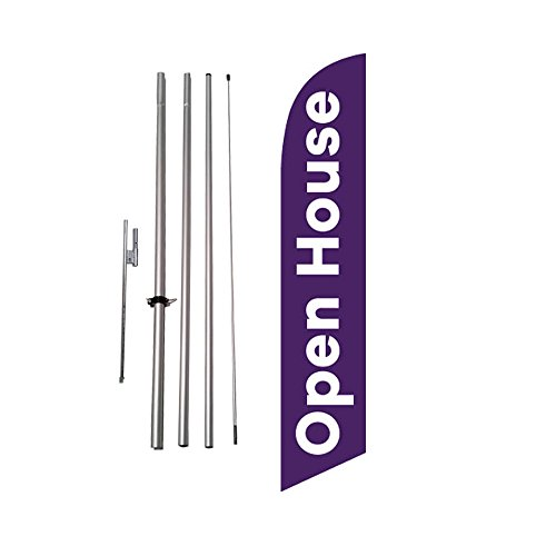 Open House Advertising Feather Flag Banner w/ Pole kit and Ground Spike