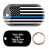 Custom Engraved Pet Tag - Thin Blue Line Flag - Dog Tag - Tag-Z Wag-Z