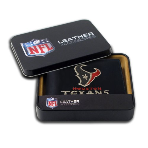 NFL Houston Texans Embroidered Genuine Leather Billfold Wallet (Leather Houston Texans)