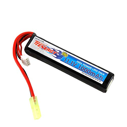 Tenergy Airsoft Battery 11.1V 1000mAh High Capacity LiPo Stick Battery Pack High Discharge Rate 20C Rechargeable Hobby Battery Pack for Airsoft Guns M4, AK47, G36, RPK, PKM w/Mini Tamiya Connector