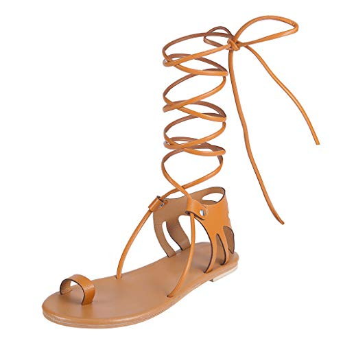 (MmNote Women Shoes, Womens Tie Lace up Ankle-Strap Boho Sling Spring Open Toe Breathable Outdoor Sandals Shoes Brown)