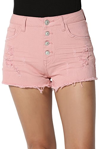 TheMogan Junior's Distressed Frayed High Waisted Button Denim Shorts Dusty Pink (Acne Skinny Jeans)