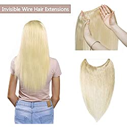 Hidden Invisible Crown Human Hair Extensions Flip On One Piece Secret Miracle Wire In Hairpiece With Transparent Fish Line Headband No Clips No Tape For Women #60 Platinum Blonde 22'' 75g
