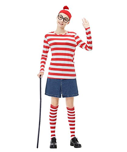 Where Wally Costumes (Adkinly Womens Wheres Waldo/Wally Adult Costume Kit, Red/White, Large)